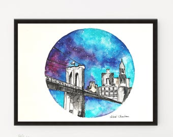 Brooklyn Bridge, New York Painting, Cityscape, Printable art, Starry Night, City art, Illustration, Watercolor art, Travel art, Modern art