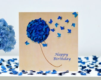 Mum Birthday Card, Flower Birthday Card, Birthday Hydrangea Card, Butterfly Birthday Card, Neighbour Card, Nan Birthday Card, Friend Card