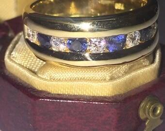 Retro Italian Diamond & Sapphire Half Hoop Dress Ring in 18K Yellow Gold