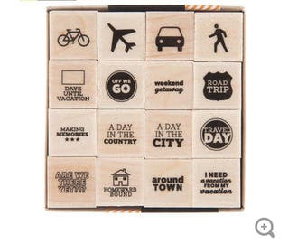 World Travelers Wood Rubber Stamp set of 16