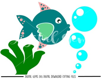 Fish svg / dxf / eps / png files. Digital download. Compatible with Cricut and Silhouette machines. Small commercial use ok.