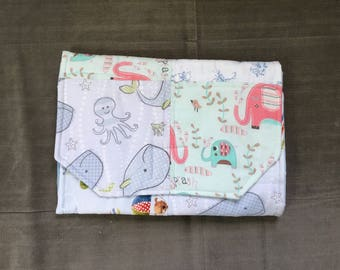 Portable Diaper Changing Pad: Elephants on Parade