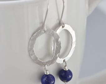 Sterling Silver Earrings, Blue Lapis Lazuli Earrings, Hoop Earrings, Dangle Earrings, Hammered Silver Hoop Earrings, Blue Earrings