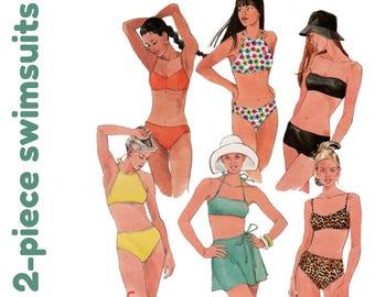 "2 Piece Swimsuit Pattern Swim Skirt Pattern Bikini Pattern McCALLS 9352 bust 38"" Halter Bikini Bandeau Bikini Two Piece Swimsuit Beach Wear"