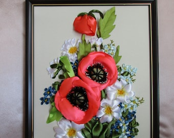 ART CANVAS PICTURE Embroidery silk ribbons