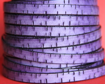 "MADE in EUROPE 24"" flat leather cord, purple  10mm leather cord, genuine leather cord (440/10/06)"