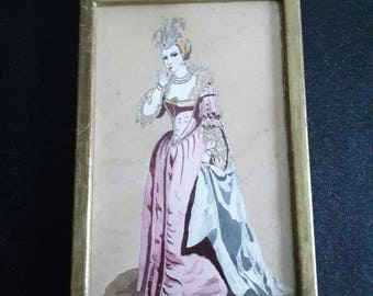 vintage handpainted engraving, french framed home decor