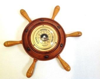 vintage wooden barometer, mid century barometer, french souvenir