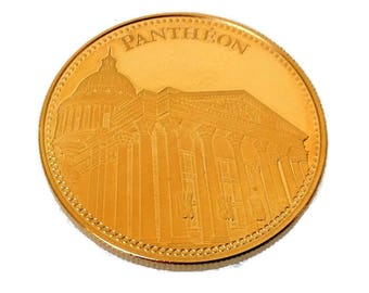 french collectible gold plated medal, Le Panthéon, french monument coin, collectable token