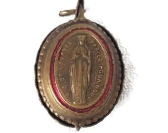 """antique religious relic holder pendant """"Lourdes"""", catholic locket"""
