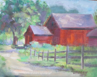 Landscape Painting, Oil Painting, Original painting, Barn, Small Painting, Oil Paintings, Original Paintings, Oil on Canvas Art Sue Whitney,