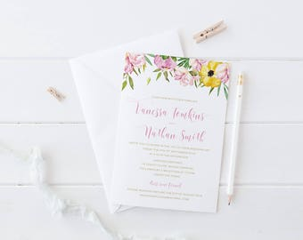 Wedding Invitation Suite, Printable or Professionally Printed, Pink Watercolour Floral, Rustic Garden Wedding, Peach Perfect