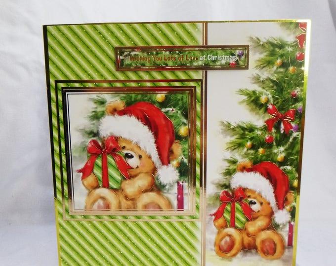 Teddy Bear Christmas Card, Greeting Card, Presents, Christmas Tree, Any Age, Male or Female,