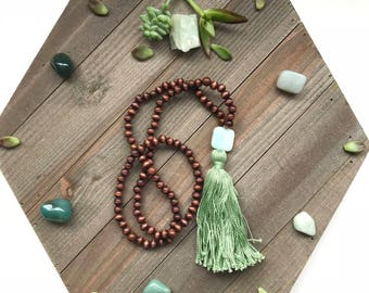 Wooden Amazonite Green Tassel 108 Beaded Mala