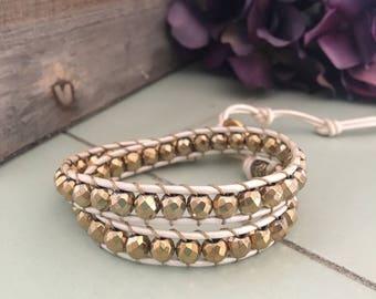 Gold Hematite Wrap Bracelet