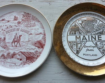 Desert of Maine Portland Collectible Plates Tourist Kitsch China