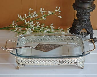 Vintage Silver Plated Serving Tray with Pyrex Dish - Rectangle Service Dish - Pierced Design - 1950 Kitchen Decor