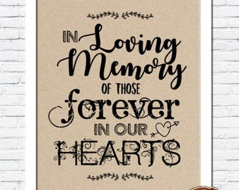 Rustic Vintage Shabby Chic Wedding A4 Print - In Loving Memory Sign