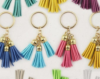 Bright Colorful Suede Tassel Keychain / Trendy Wedding Favors / Gift for Her / Small Bridesmaid Gift Favor / New Baby Shower Favors Gift