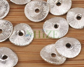 HIZE BB231 925 Bright Sterling Silver Wavy Disc Chip Spacer Beads 7mm (36)