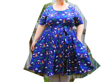 Dino Volcano Sash Dress with pockets ON SALE only one left!
