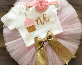 Cupcake First Birthday Outfit, First Birthday Outfit Girl, Pink and Gold First Birthday, Cake Smash Outfit, First Birthday Tutu