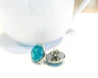 blue opal earrings, large stud earrings, round stud earrings, 12mm stud earrings, stainless steel jewelry, jewelry handmade, faux opal studs
