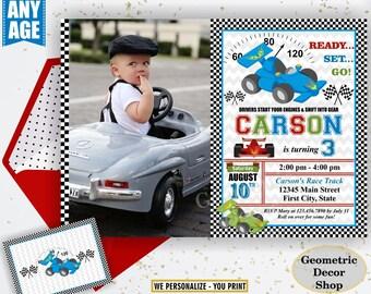 Race car birthday invitation - race car party invite - race car - first birthday - Photo - Photograph - Cars - Red Blue Green BDCar14