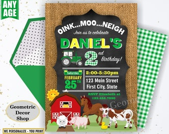 Farm animals birthday invitation woodland red green tractor plaid wood invite rustic boy horse cow duck bunny sheep Photo Photograph BDFarm5