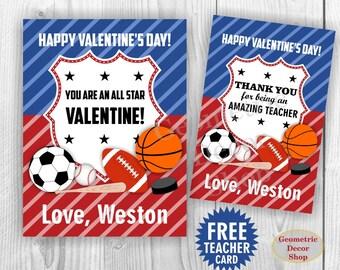 Valentine / Card / Sports / Soccer / baseball / hockey / volleyball / Valentines / Valentine's Day / Tags / teacher / Kids VCard32