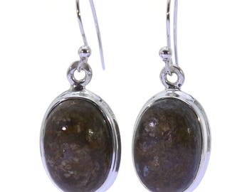 Bronzite Earrings, 925 Sterling Silver, Unique only 1 piece available! color brown, weight 5.3g, #37478