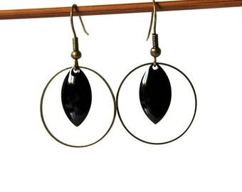 Black rings bronze Sequin enamel earrings
