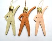 Glittery crown rude nude hanging christmas tree ornaments