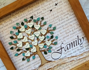 Family Tree, family tree frame, personalised family tree, custom family tree, parent gift, grandparent gift, family name tree, wedding gift