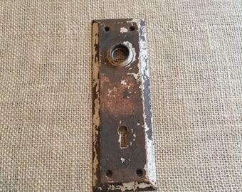 Vintage Door Plate - Vintage Door Handle - Chippy Paint Salvage Hardware - Antique Door Hardware & Salvaged hardware | Etsy