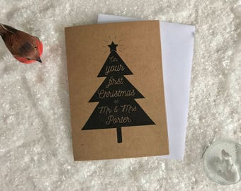 Personalised Newlyweds Charity Christmas Card. First Christmas as Mr and Mrs. Envelope included.