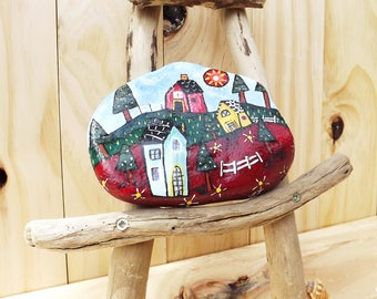 Painted rock rustic home decoration Christmas gift for her, paperweight, bookend garden farmhouse nursery folk art original design Australia