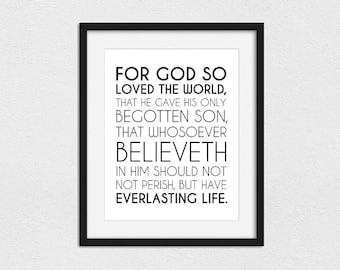 For God So Loved The World Printable // Instant Download // Printing Services Available // John 3:16 Printable //LDS Print // LDS Art
