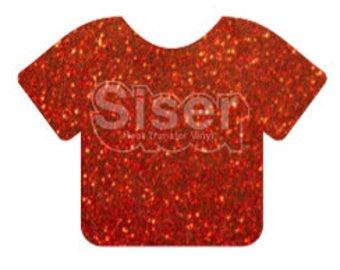 """1 12x20"""" Red Siser Glitter HTV, Siser Glitter Heat Transfer Vinyl, Red Glitter HTV"""