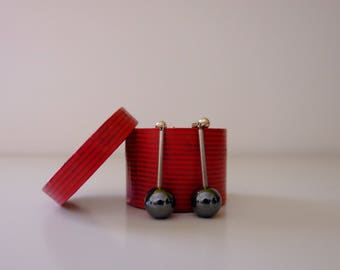 925 silver pendant earrings with hematite