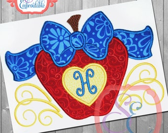 BIG BOW APPLE Applique Design For Machine Embroidery