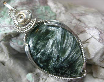 A+ Quality, Natural Russian Seraphinite Pendant in Sterling Silver Wire