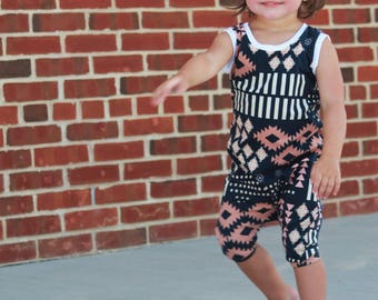 Aztec Romper - Baby Girl Romper, Toddler Girl Romper, Pink Romper, Toddler Romper, baby romper