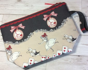 Zipped project bag - Alice and the White Rabbit - Grey