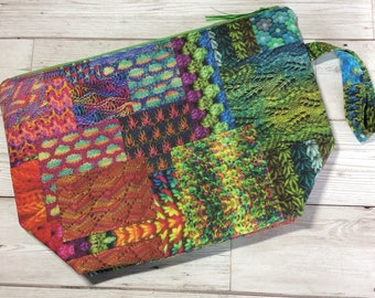 Zipped project bag - Knitting Patchwork