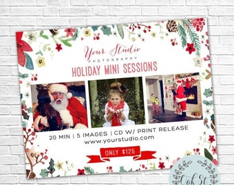 HALF OFF PHOTOGRAPHER Template Watercolor Holiday Mini Sessions Flyer, Christmas Mini Session Flyer, Photographer Marketing,