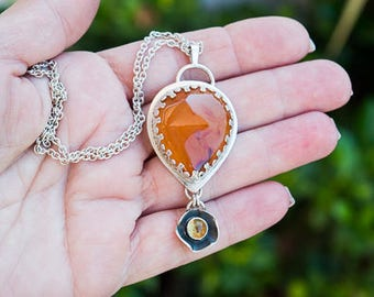 Sterling silver necklace pendant, Gemstone necklace, Carnelian necklace, Artisan necklace pendant, Citrine necklace, Stone necklace handmade