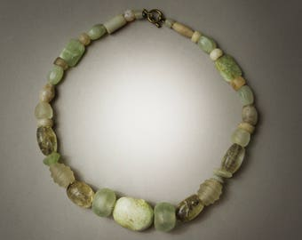 Ancient African Beads with Crystal and Burmese Stone