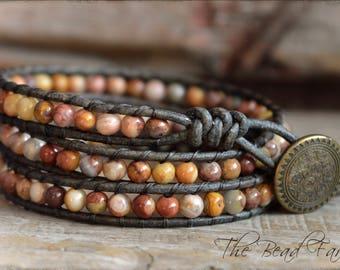 Gemstone Beaded Wrap Bracelet, Wrap Bracelet, Leather Wrap Bracelet, Boho Wrap Bracelet, Triple Wrap Bracelet, Agate Wrap Bracelet