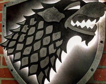 Game of Thrones House Stark Dire Wolf Handmade Wooden Illuminated Medievil Sigil Crest  Emblem for Mancave